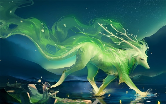 Wallpaper Art of painting a green animal