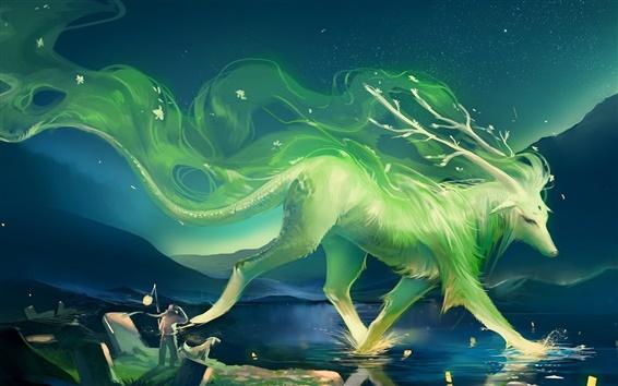 Обои Искусство живописи зеленый животных