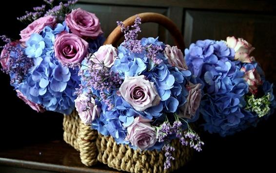 Papéis de Parede Cesta cheia de flores