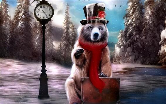 Papéis de Parede Criativo pintura inverno urso