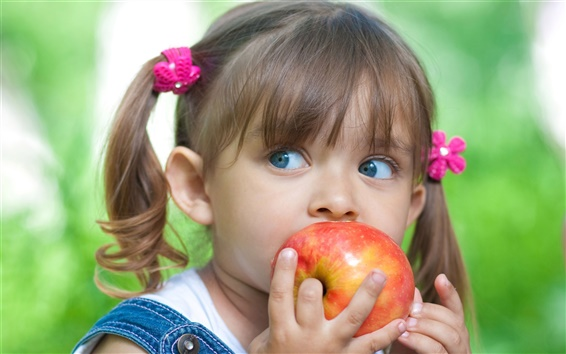 Wallpaper Cute little girl eating apple