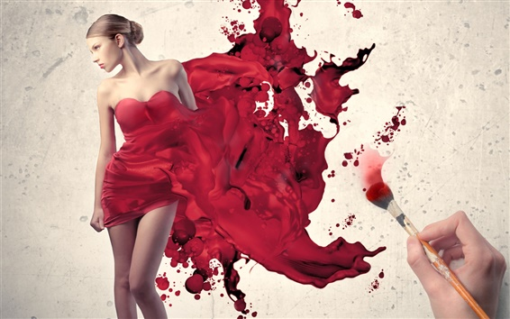 Wallpaper Draw the girl's red dress