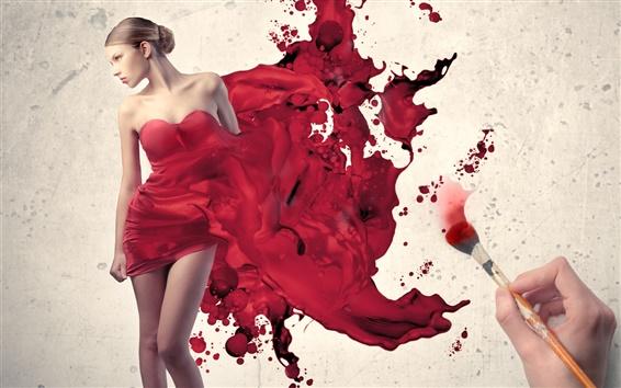 壁紙 女の子の赤いドレスを描く