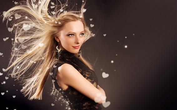Fond d'écran heveux de la fille de mode de vol