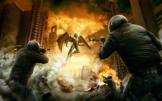Wallpaper Games scene police against demon invasion