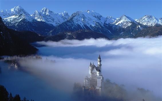 Wallpaper German landscape, castle in the clouds