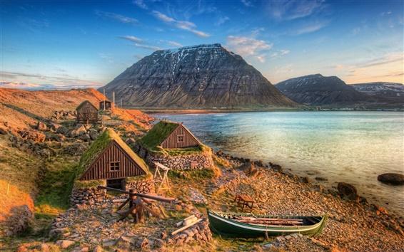Fondos de pantalla Islandia Montaña Costa del Mar del Barco