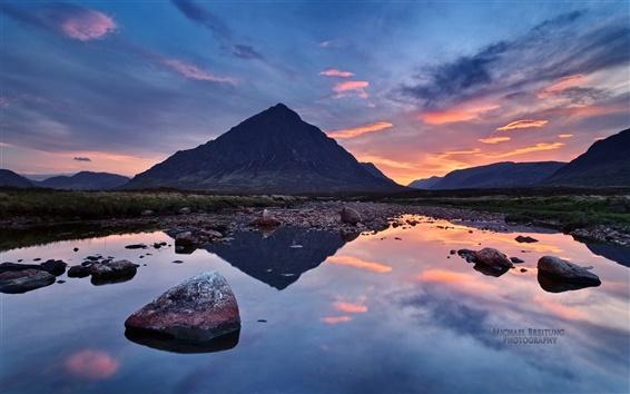 Papéis de Parede Paisagem Magic, montanha lago por do sol