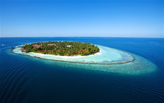 Обои Мальдивы Paradise Island море голубой водой