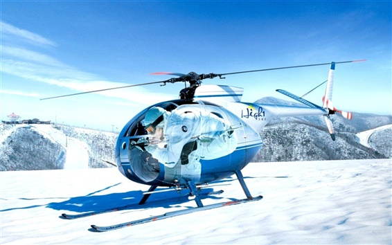 Wallpaper Mini helicopters on the snow-capped mountain