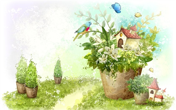 Wallpaper Painting the green of spring and parrot