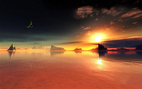 Обои Красное озеро закат