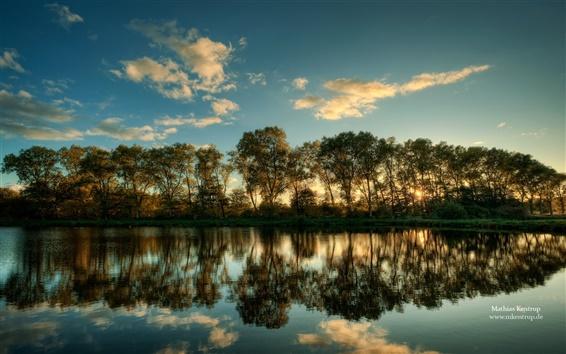 Wallpaper Schleswig Holstein landscape, Tree reflection in water