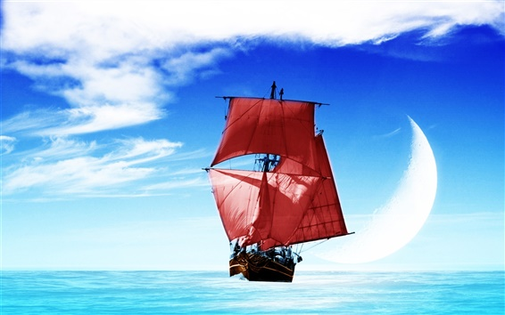 Обои Корабль море небо облака луна