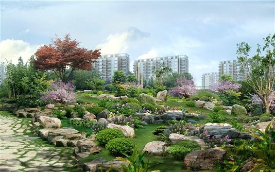 Wallpaper 3D landscape renderings