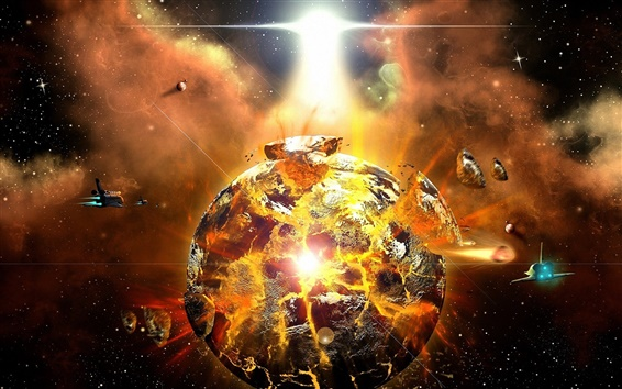 Wallpaper A violent explosion of the planet