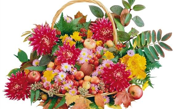 Fond d'écran Des corbeilles de fleurs et de fruits