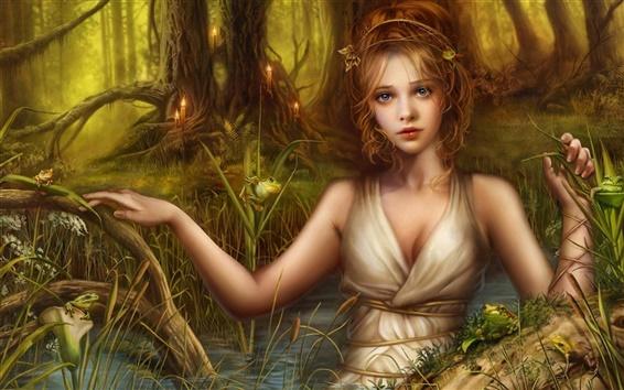 Papéis de Parede Menina bonita da fantasia loira
