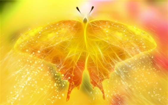 Wallpaper Beautiful golden light butterfly