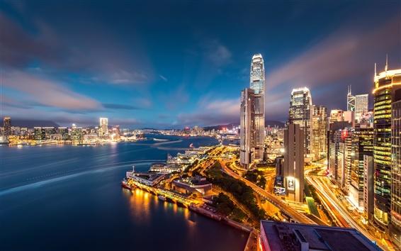 Fondos de pantalla Punto de vista Hermosa noche de Hong Kong