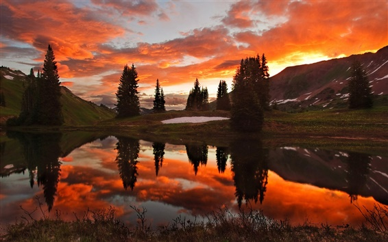 Wallpaper Beauty of the red sunset sky and lake