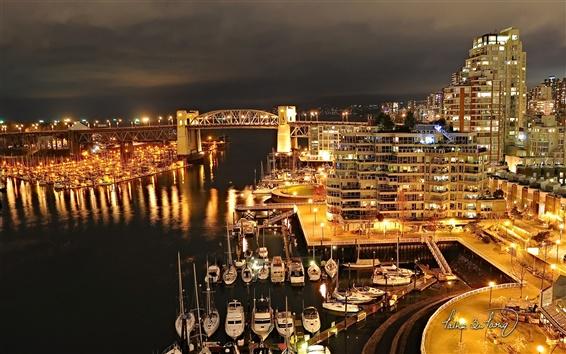 Fond d'écran Burrard Vancouver pont la nuit