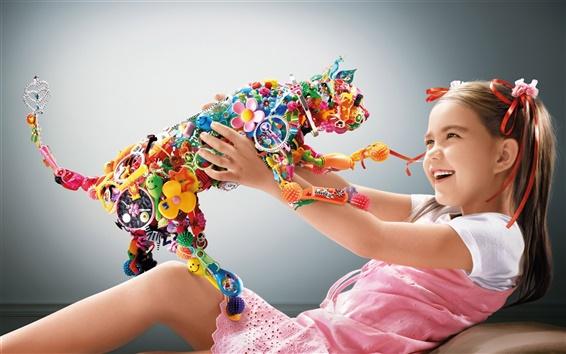 배경 화면 다채로운 고양이 장난감과 귀여운 여자