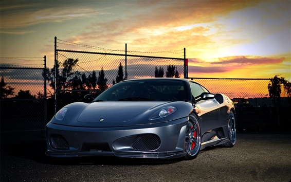 Wallpaper Ferrari at sunset
