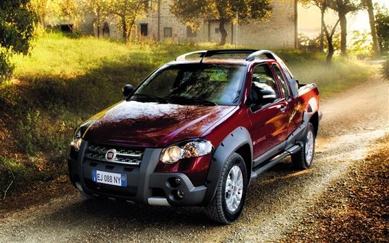 Wallpaper Fiat car red color