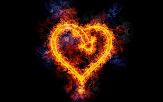 배경 화면 불꽃은 심장 모양의 사랑
