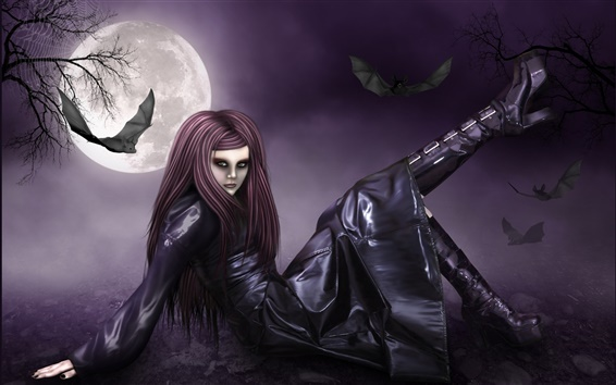 Wallpaper Full moon night of the red-haired fantasy girl