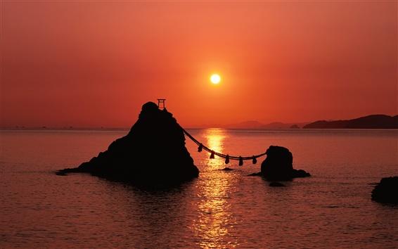 배경 화면 일본에서 붉은 황혼의 바다