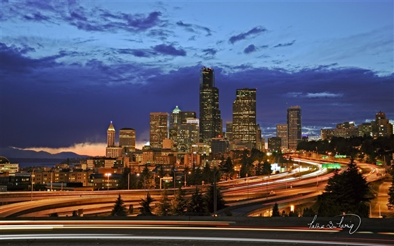 Wallpaper Seattle city night lights