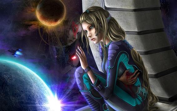 Обои Космическая девушка слезы горя