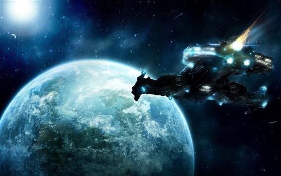 배경 화면 지구로 비행 우주선