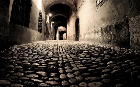Fond d'écran Les couloirs de l'ancienne ville de nuit