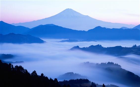 Обои На заре горы красота Японии Fuji
