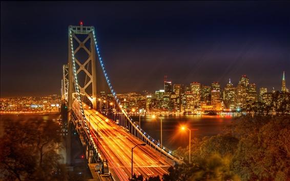 Wallpaper USA city bridge at night