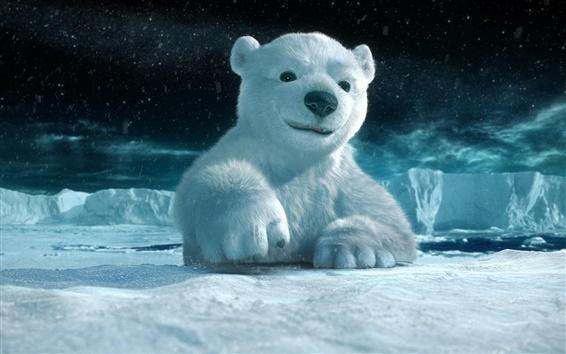 Wallpaper 3D animal paintings, polar bear
