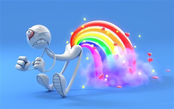 Wallpaper 3D one-eyed man rainbow