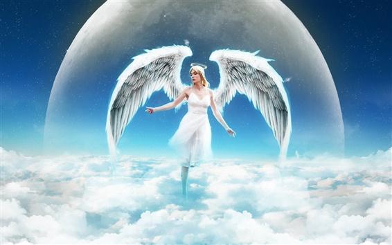 Fond d'écran Fille ange dans le ciel, nuages