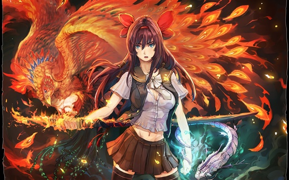Wallpaper Anime girl Phoenix Flame