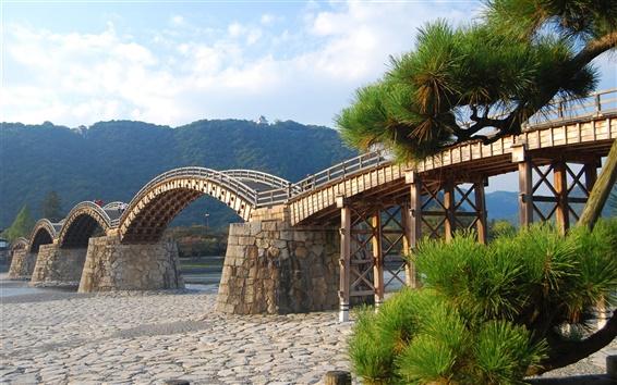 Обои Арочный деревянный мост