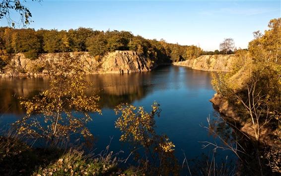 배경 화면 가을 호수