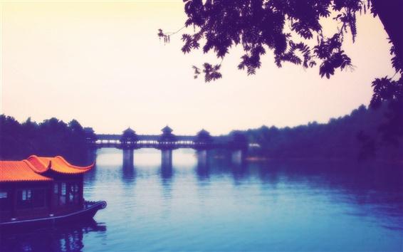Wallpaper Chinese township River Bridge landscape