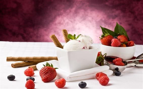 Обои Вкусные свежие фрукты мороженое