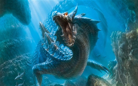 Wallpaper Dragon in the underwater world