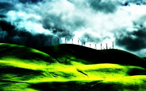 Обои Мечта пейзаж электроэнергии ветряной мельницы