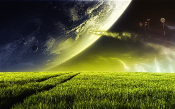 Fond d'écran Rêve prairie ciel
