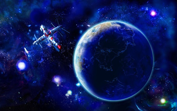 Wallpaper Earth and satellites in space